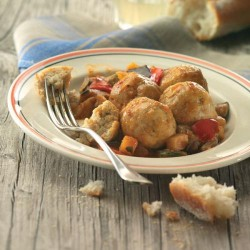 Mandonguilles de peix amb samfaina