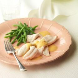 Lenguado en salsa de naranja con judías verdes