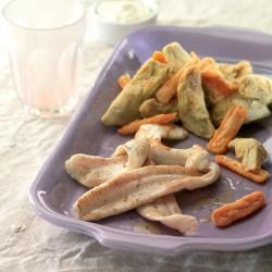 Lenguado a la plancha con verduritas fritas