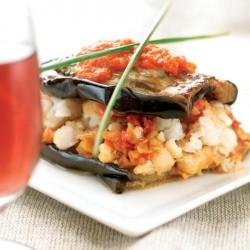 Lasanya de peix amb albergínia