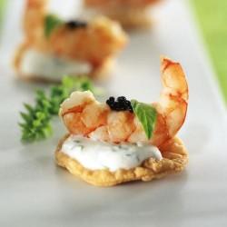 Aperitiu de gamba amb iogurt i caviar