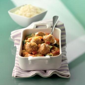 Albóndigas con verduritas al curry