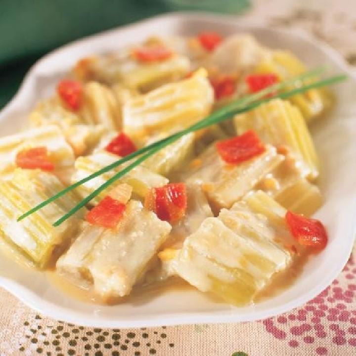 Card amb salsa d'ametlles i pernil