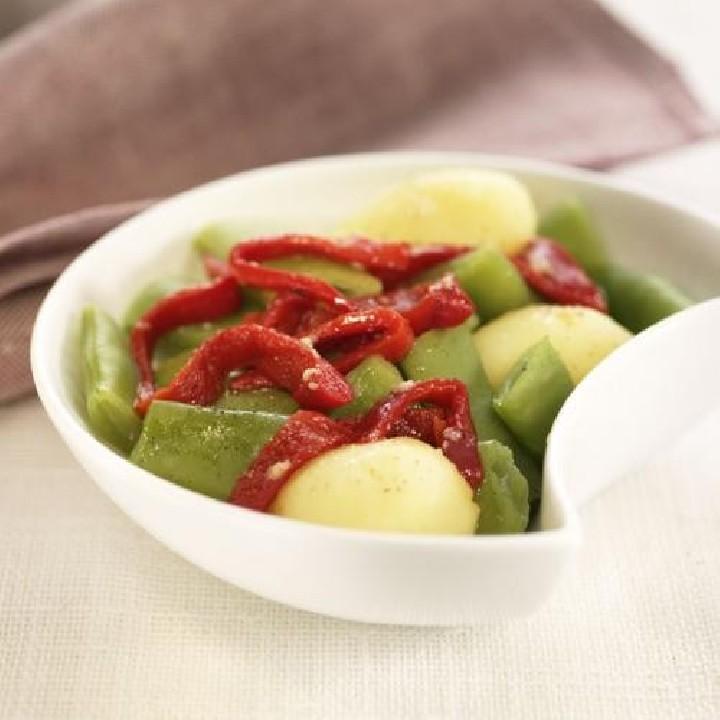 Mongeta verda i patata amb pebrots del piquillo