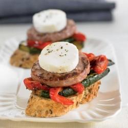 Montadito d'hamburguesa i verdures