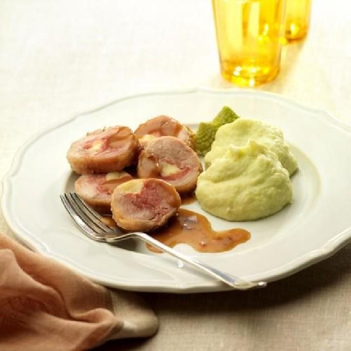 Minirodons de pollastre amb puré de patata