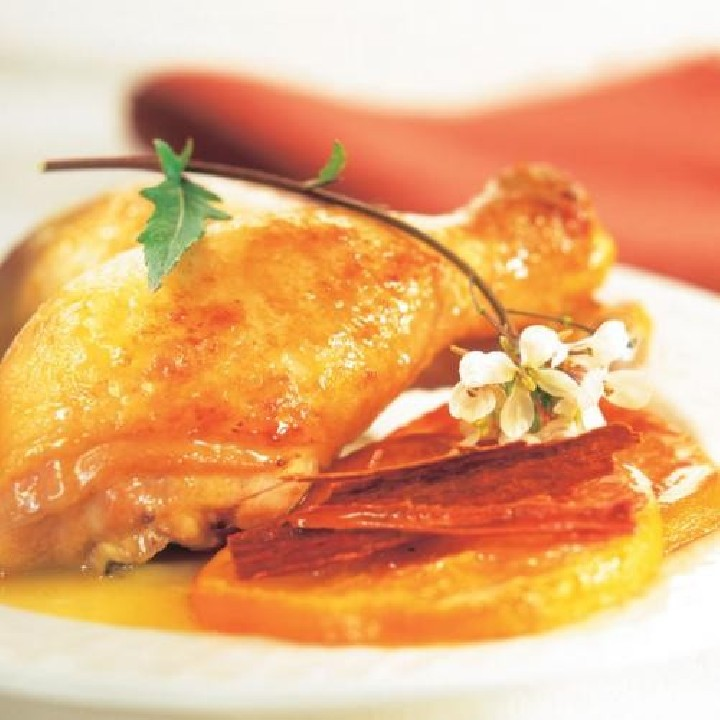 Pollo con naranja y canela
