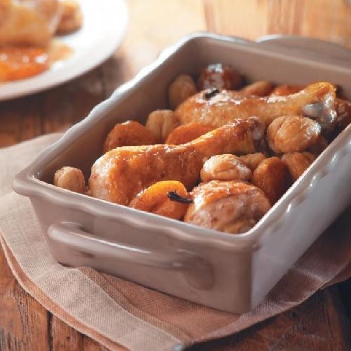 Jamoncitos de pollo con castañas y frutos secos