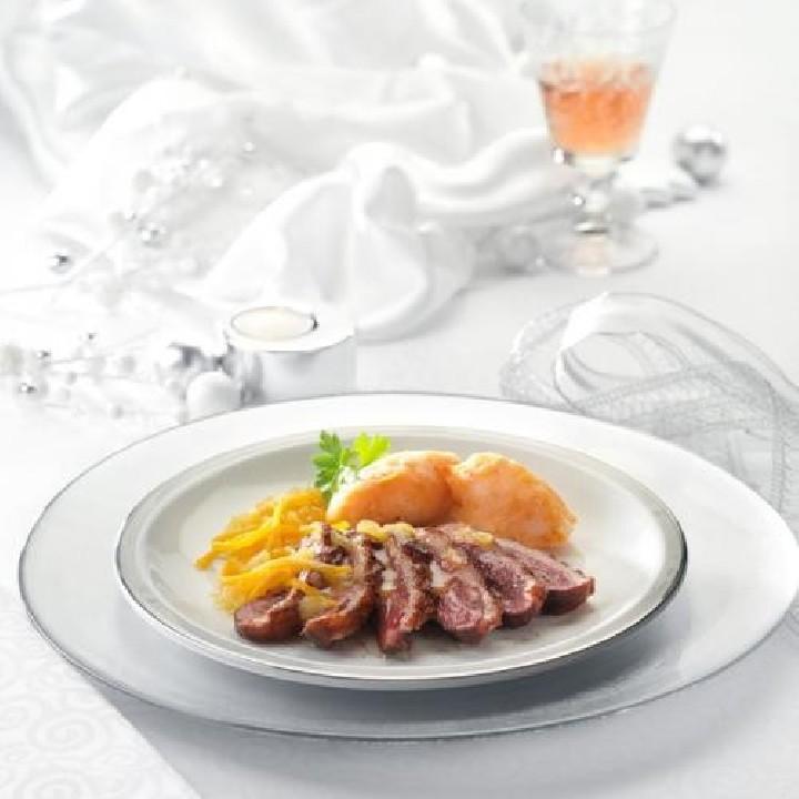 Magret a la planxa amb salsa de taronja i gingebre