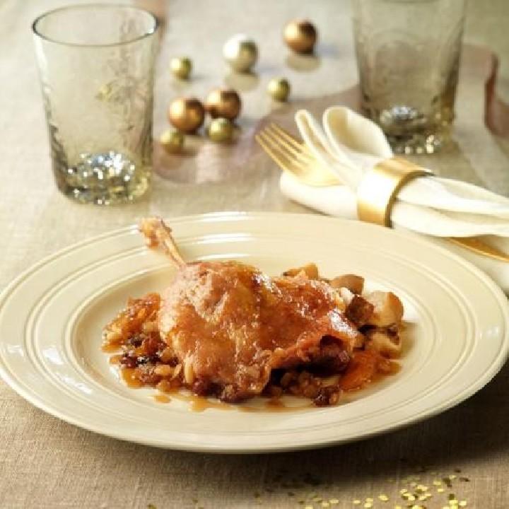 Confit de pato  con boletus y salsa agridulce
