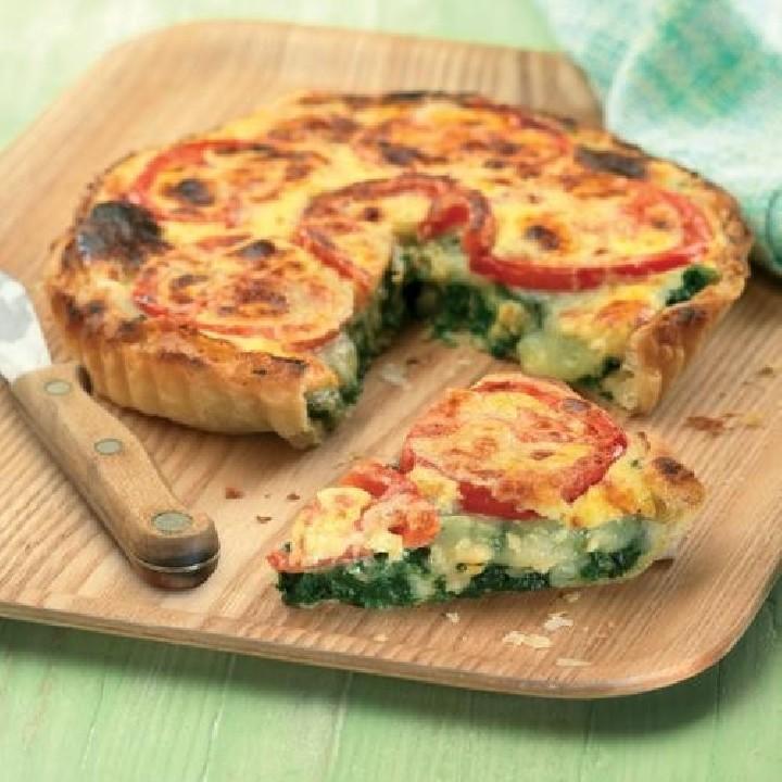 Tarta de espinacas con queso raclette
