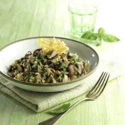 Risotto de boletus y piñones con galleta de Parma