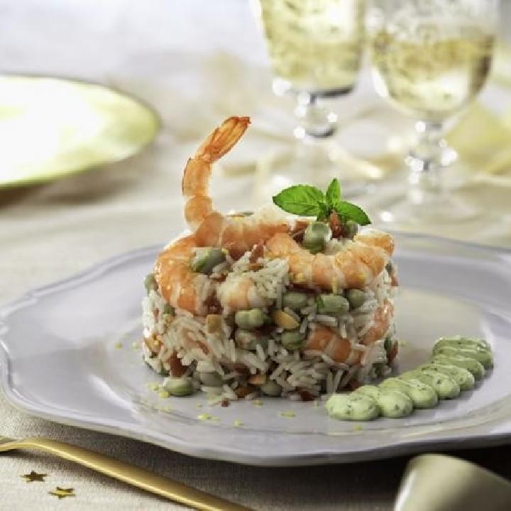 Ensalada de langostinos con arroz basmati