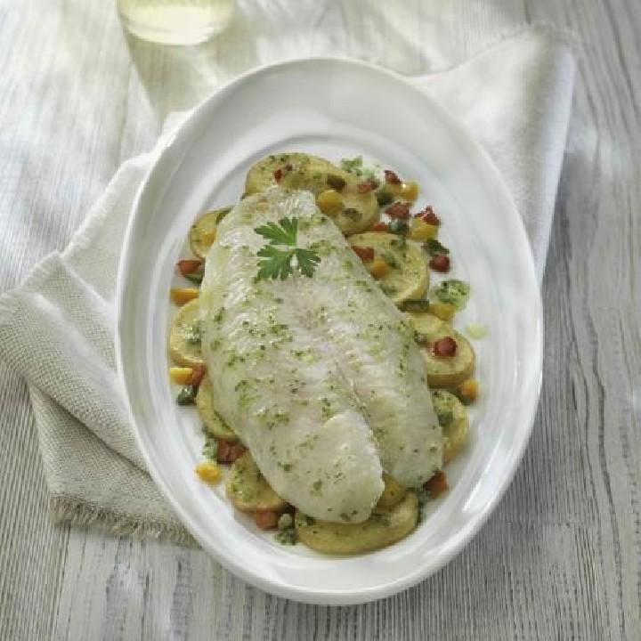 Panga con patatas y pimiento tricolor