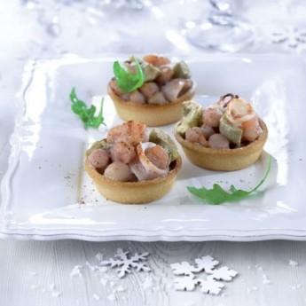 Cassoletes de calamar, vieira i cues de gamba austral