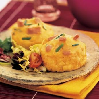 Nidos de patata rellenos jamón y queso