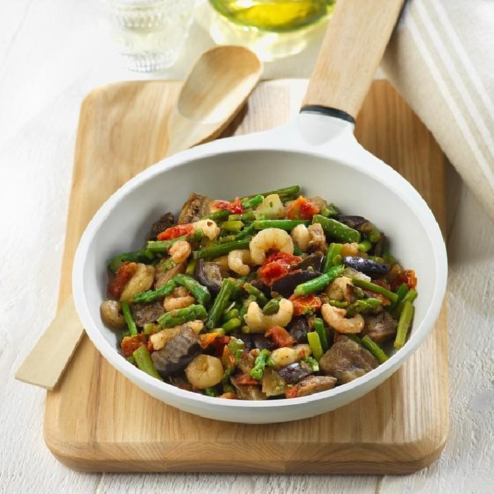 Brasejat de verdures amb gambes