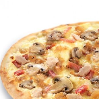 Pizza micro pollo, bacón y champiñones