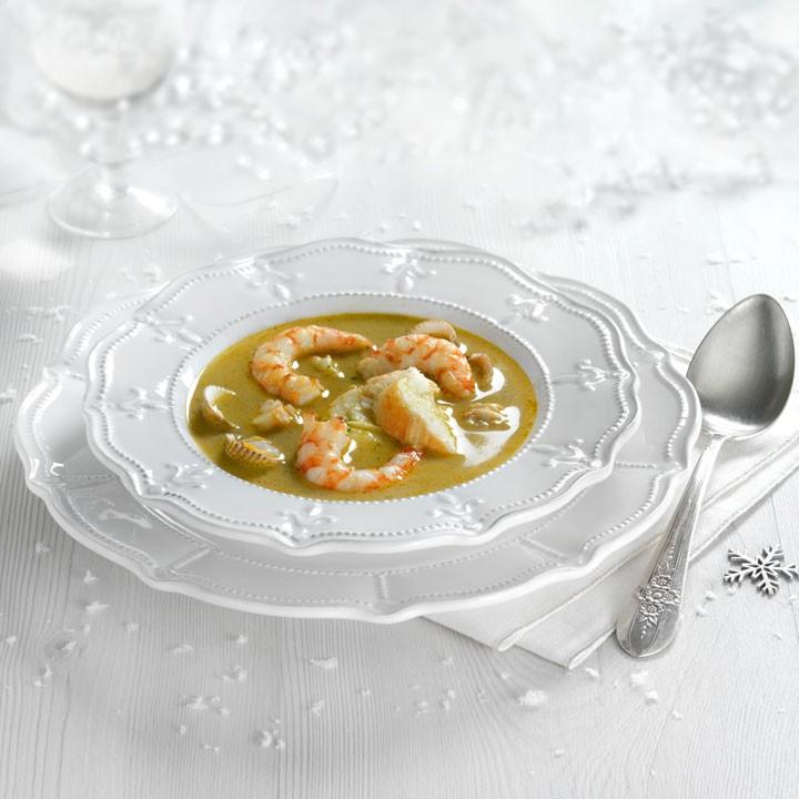 Sopa de langosta  y langostinos