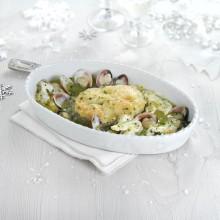 Cassola de lluç austral amb cocotxes i cloïsses