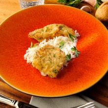 Filet d'halibut a la milanesa amb arròs basmati