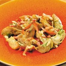 Alcachofas salteadas con vinagreta a la mostaza