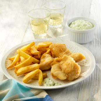 Fish and chips de panga en tempura