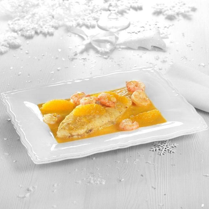 Lenguado con salsa de naranja y gambas
