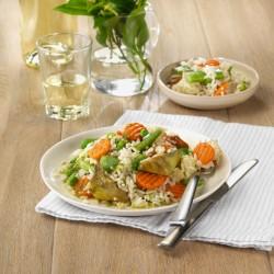 Arròs amb minestra de verdures amb aroma de julivert i llimona
