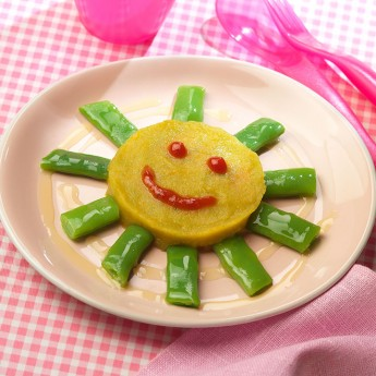 Sol de puré de verduras y rayos de judía