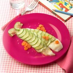 Pescado con escamas de verduras