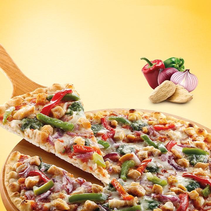 Pizza fina pollastre i verduretes