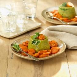 Pastissets d'espinacs i halibut amb corona de pastanagues