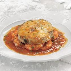 Rodaja de merluza austral Premium con salsa de gambón