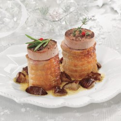 Mini rodons de pollastre farcits de bacó-dàtil o de pernil-formatge amb foie i ceps
