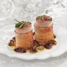 Mini rodó de pollastre farcit de bacó-dàtil o de pernil-formatge amb foie i ceps