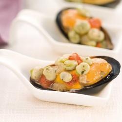 Mejillones marinados con habitas