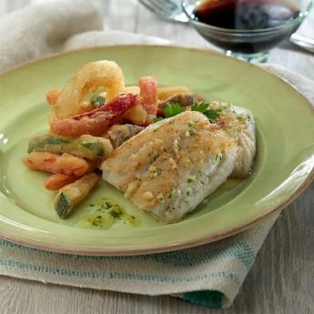 Abadejo con tempura de verduras