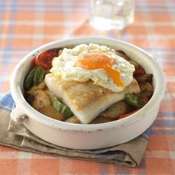 Penca de bacallà amb patates i ou ferrat