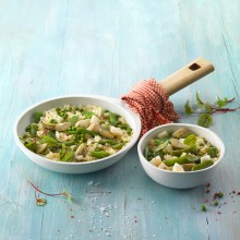 Arroz salteado con verduras y sepia