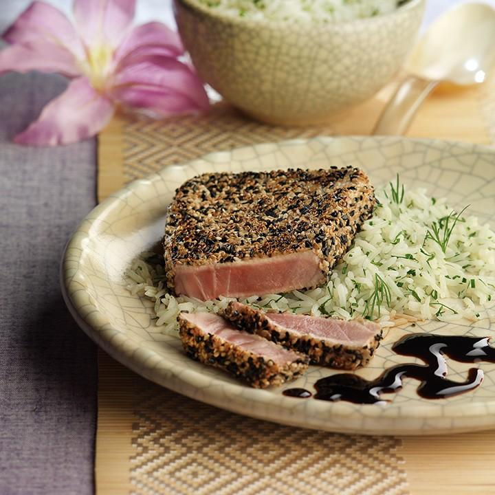 Rodanxa de tonyina a la planxa amb sèsam