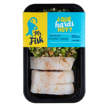 Bacalao con quinoa y verduras