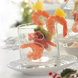 Mini broquetes de llagostí, alvocat i pinya