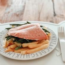 Fish and Chips de salmón y judías verdes