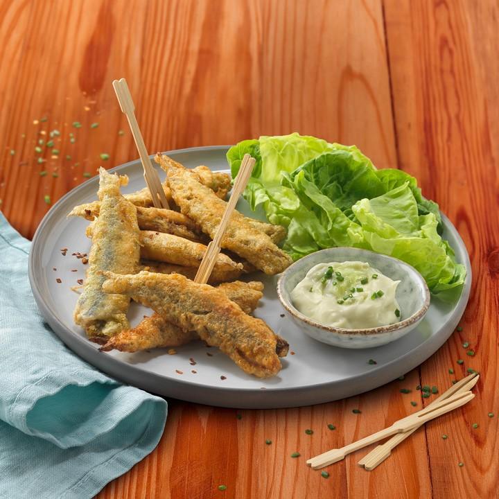 Seitons farcits i fregits amb maionesa de wasabi