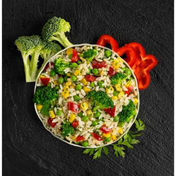 Mezcla verduras con arroz