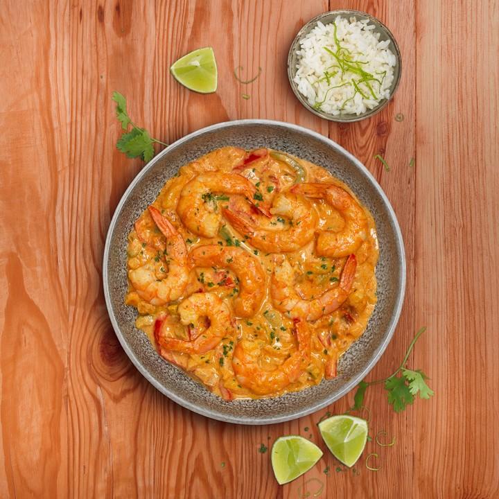 Langostinos al curry rojo thai