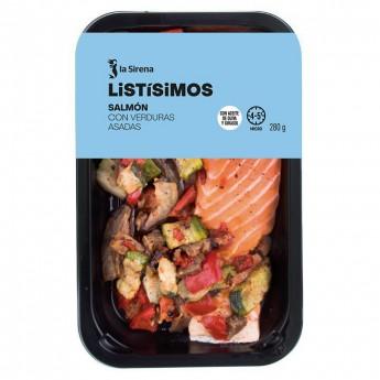 Salmon con verduras braseadas