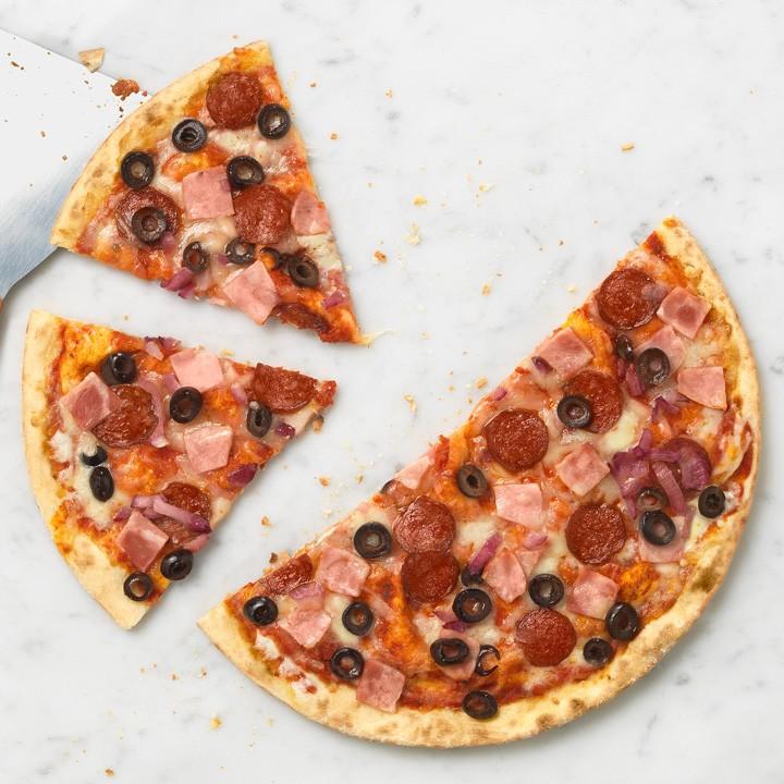 Pizza La súper fina cansalada i salami
