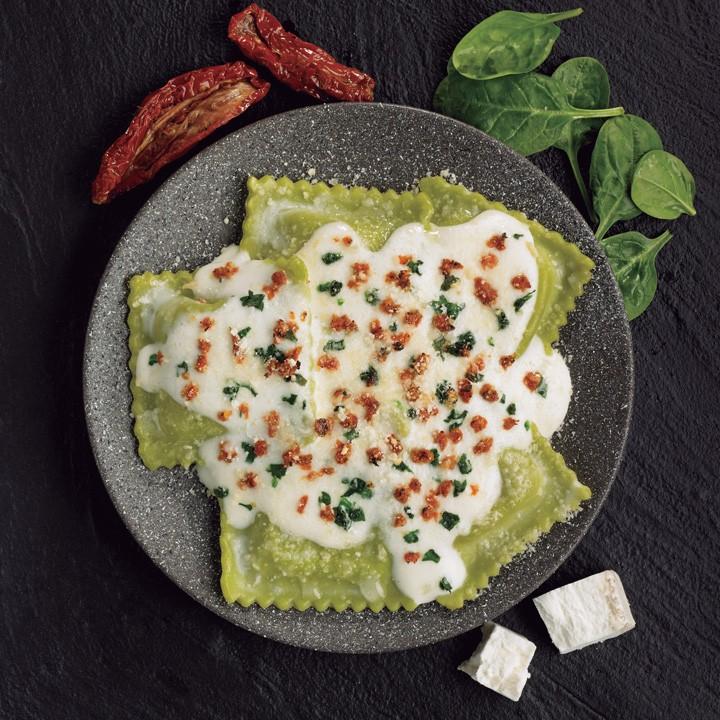Ravioli verd formatge cabra i espinacs